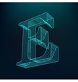 The letter E Polygonal letter Low poly model vector image vector image