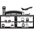 transportation hub at airport vector image vector image