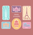 travel stickers different places set vector image vector image
