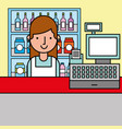woman cash register and shelves supermarket vector image