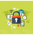 Flat padlock icon Data protection concept Social vector image