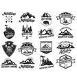 set of camping emblems isolated on white vector image