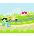 school bus heading to school with happy children vector image