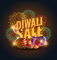 diwali sale banner voucher with crackers and vector image