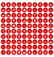 100 trophy and awards icons set red vector image vector image