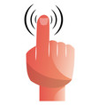 a hand with pointing finger on a white background vector image vector image