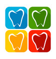 abstract tooth line art rounded square flat icons vector image