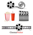 big set with cinema elements vector image vector image
