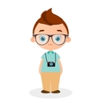 Boy with glasses and camera vector image vector image