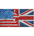 brick wall usa and uk flags vector image