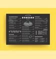 burger restaurant menu layout design brochure vector image