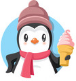 cartoon penguin holding delicious ice cream vector image vector image