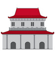 chinese style building with red roof and gray wall vector image vector image