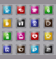 coffee glass icons set vector image vector image