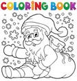 coloring book santa claus in snow 1 vector image