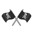 crossed pirate flags icon monochrome vector image vector image