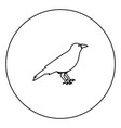 crow black icon in circle outline vector image