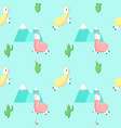 cute alpaca with cactus seamless pattern vector image vector image