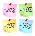 Discount on sticky note paper vector image