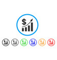 dollar bar chart trend rounded icon vector image vector image