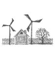 drawing wooden house with wind power plants vector image