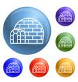 eskimo igloo icons set vector image