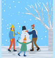 family standing around snowman sculpture in park vector image vector image