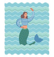 funnt beauty mermaid in the wave vector image