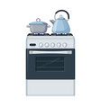 gas stove with pan and kittle home kitchen food vector image vector image