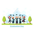 graduation day happy students celebrating and vector image vector image