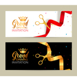 Grand Opening invitation banner Golden Ribbon and vector image vector image