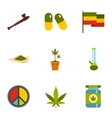 Hemp icons set flat style vector image vector image
