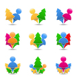Icons of trees with humans vector image vector image