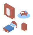 isometric furniture bed table wardrobe vector image