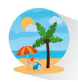 landscape beach palm tree umbrella ball starfish vector image vector image