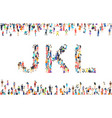 large group people in letter j k l sign vector image vector image