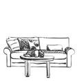 living room graphic black white interior sketch vector image