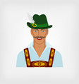 man in traditional bavarian national costume vector image vector image