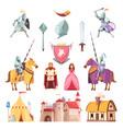medieval royal heraldry cartoon set vector image