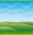 nature landscape with sky hills and grass vector image
