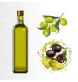 olive oil bottle olives branches and oil splash vector image