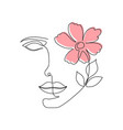one line woman face with flower and leaves vector image