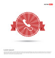 phone receiver icon - red ribbon banner vector image
