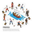 pirates isometric composition vector image vector image
