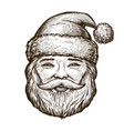 portrait of happy santa claus christmas sketch vector image vector image