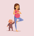 pregnant woman exercising next to happy playful vector image vector image