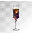 realistic champagne glass with space vector image