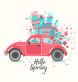 red retro car delivering bouquet tulips pink vector image vector image