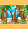 scene with waterfall and tree vector image