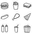 set black doodle fast food icons vector image vector image